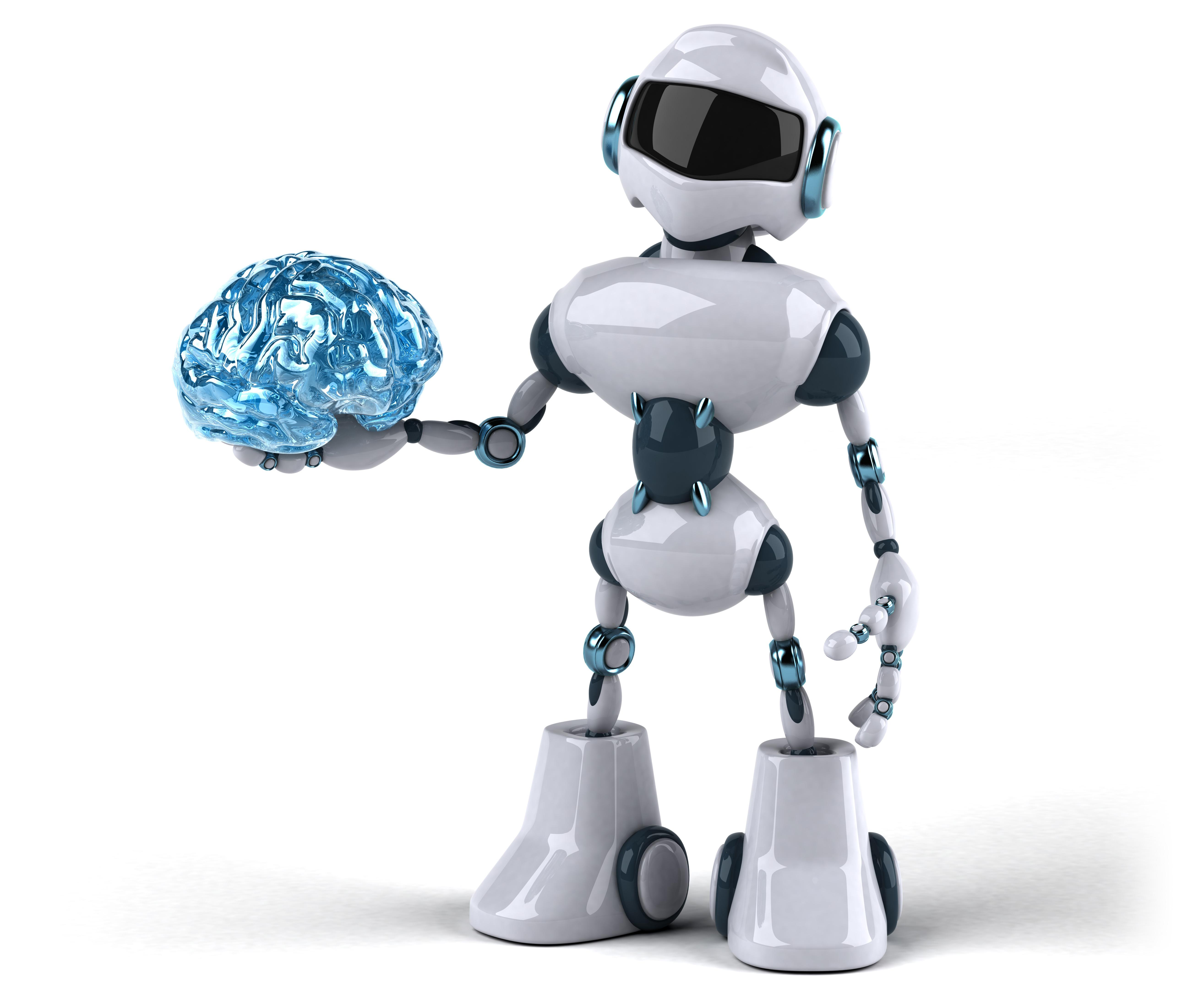 robot holding brain