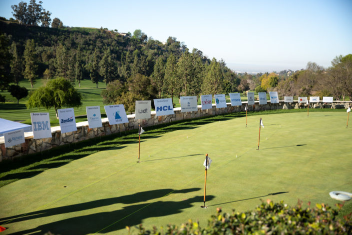 A view of the putting green highlighting our generous sponsors – thank you!