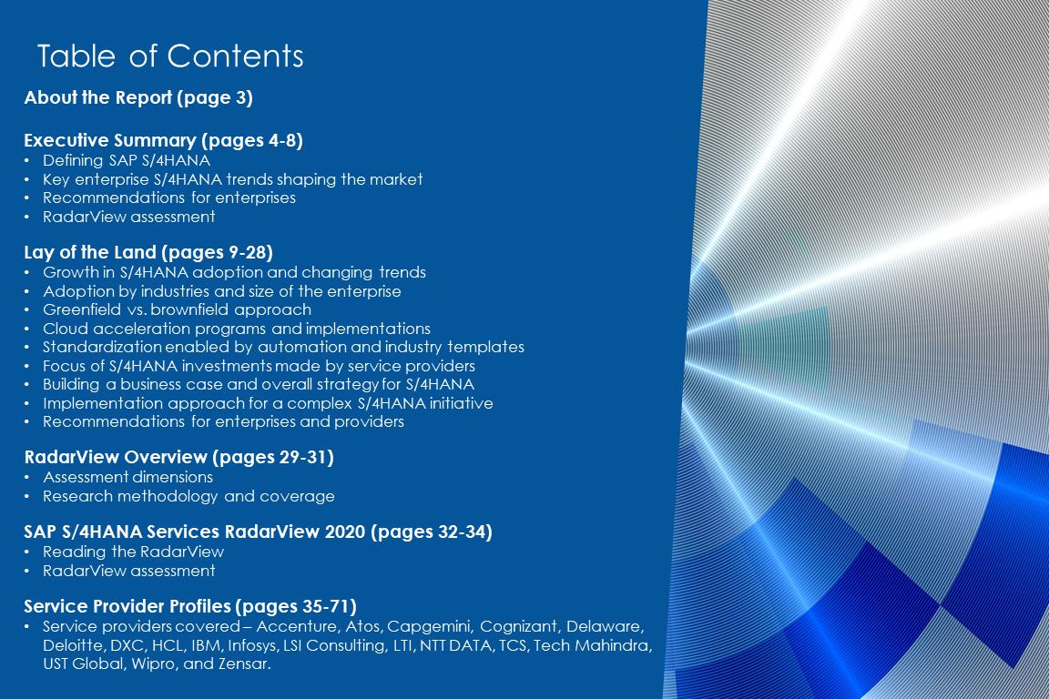 TOC SAP4HANA 2020 - SAP S/4HANA Services 2020 RadarView™