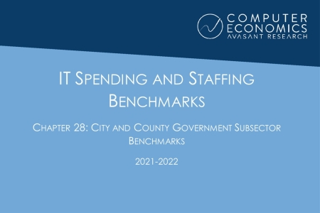 ISSCh28 450x300 - IT Spending and Staffing Benchmarks 2021/2022: Chapter 28: City and County Government Subsector Benchmarks