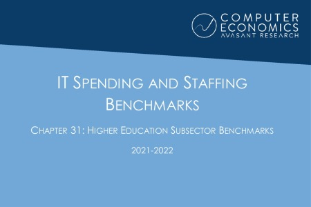 ISSCh31 450x300 - IT Spending and Staffing Benchmarks 2021/2022: Chapter 31: Higher Education Subsector Benchmarks