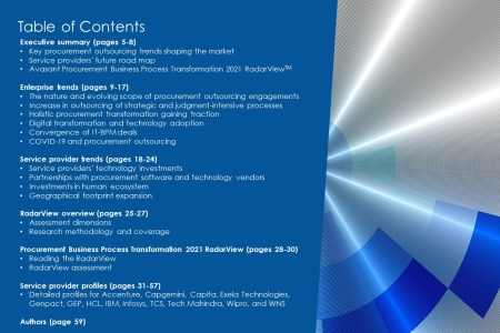 TOC  Procurement BPT 2021 450x300 - Procurement Business Process Transformation 2021 RadarView™